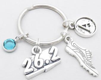 Marathon runner vintage initial keyring | marathon runner keychain | personalised running keyring | gift for marathon runner | running shoe