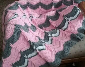 Pattern Crochet Baby Blanket, Cable Loop Chevron Afghan Blanket, Ripple baby blanket, PDF