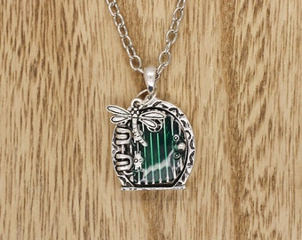 Hobbit Door Pendant With Dragonfly On Silver Tone Chain Necklace