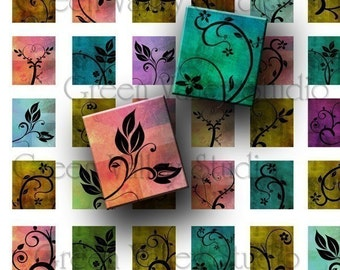 INSTANT DOWNLOAD Digital Art Flowers Swirls Leaves Plants Digital Images Collage Sheet for Scrabble Tile Pendants .75 x .875 (S13)