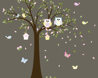 Nursery Wall Tree Decal - Children Wall Decals - Baby Wall Decal - Kids Wall Decals - Owl Tree Decal