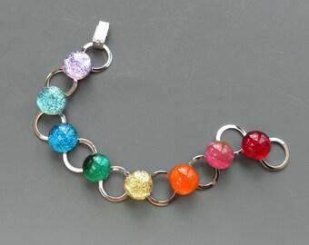 Dichroic Glass Rainbow Bracelet, Fused Glass Bracelet, Dichroic Glass Bracelet, LGBT, Gay Pride Bracelet