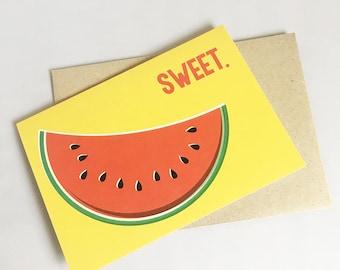 Birthday Card   Blank Card   Card for her   Card for friend   Thank you Card   Watermelon Card   Friend Card   Congratulations Card  
