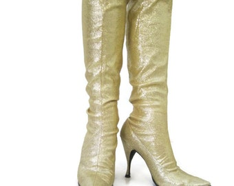 Vintage Gold Boots 60s Go-go Lurex Sparkly Knee High Stretch Space Age  7.5