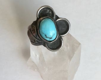 vintage sterling turquoise ring, size 5