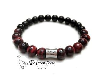 Red Tiger Eye and Black Onyx Mens Bracelet, Healing Gemstone, Yoga Bracelet, Maditation Bracelet, Energy Bracelet, Minimalist Men, Yoga Gift