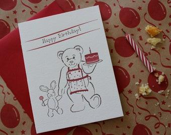 Teddy Bear Letterpress Birthday Card