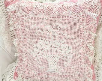 Pretty Pink and White Vintage Doily Basket Pillow