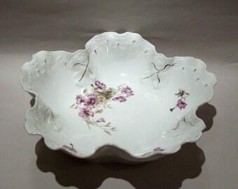 8553: Antique B.R.C. Voltaire Germany (Rosenthal China) Purple Floral Scalloped BRC Gorgeous Antique Porcelain at Vintageway Furniture