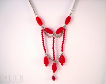 Red Statement Necklace bright red glass bead drops and silver color box chain statement necklace