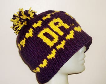 Purple winter beanie hat with yellow heart and DR DOG Personalized knit for mens or womens beanie hat music Gift under 50