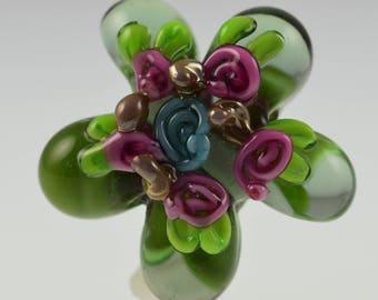 Lampwork Hand Made Green Decorative Daisy Glass Bead