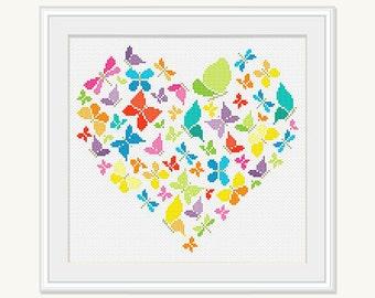Butterfly Heart Cross Stitch Pattern - Wedding Cross Stitch - Embroidery - Cross Stitch Heart Butterfly -PDF - INSTANT DOWNLOAD
