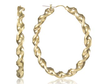 10K Yellow Gold Round Twisted Hoop Earrings 6.0mm 60-100mm - Swirl Twist