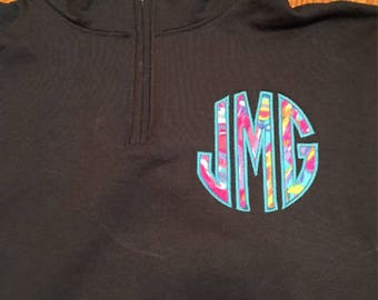 Monogram Sweatshirt, Monogram Sweatshirt, Quarter Zip Monogram Sweatshirt, Appliqué Sweatshirt