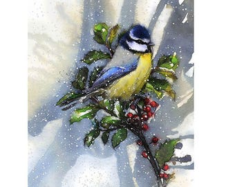 Blue tit snow | Limited edition fine art print from original drawing. Free shipping.