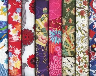 8 Beautiful Multi-color Asian Japanese Fabrics: Fat Quarter Bundle III (2 Yds.)