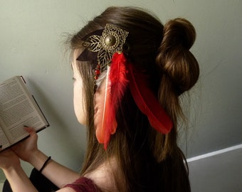 Clip Britvak fire Accessories red petal feathered tribal print leather suit pagan Druid, shaman