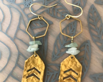 Brass chevron earrings