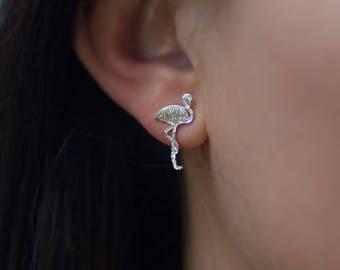 Stud | free shipping | earring | silver | minimalistic | flamingo