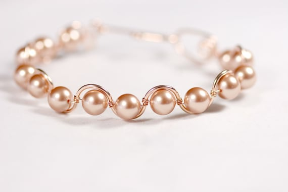Rose Gold Pearl Bracelet Wire Wrapped Jewelry Handmade Rose