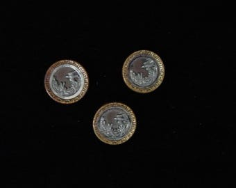 "3 Vintage Metal Picture Buttons , Mirror Frame Bird, Plants 5/8"""