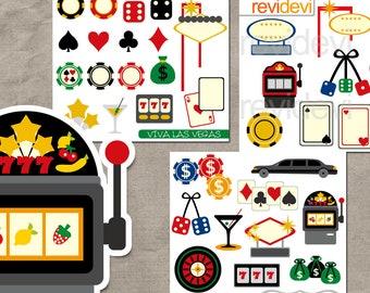 Viva Las Vegas clipart sale / casino, gambling, poker play cards, fruit machine, dice, chip, Vegas sign / commercial use digital graphics