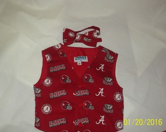 Alabama Boys Vest and Bowtie -Sizes 12mo, 2T, 3T, 4T, 5T
