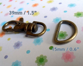 39mm / 1.5 Inch Swivel Clips with Matching D Ring in Antique Brass and Nickel Finish - Choose from 240, 600, and 1500 sets