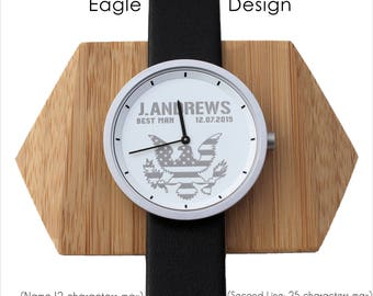 American Flag and Eagle, Military Watch, Patriotic Gifts for Men, Veteran Grandpa, Military Jewelry, USA Flag, Veteran Gift, Best Man Watch
