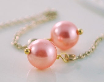Pearl Earrings, Genuine Swarovski Pearl, Rose Peach, Light Coral, Cable Threaders, Gold or Sterling Silver Jewelry