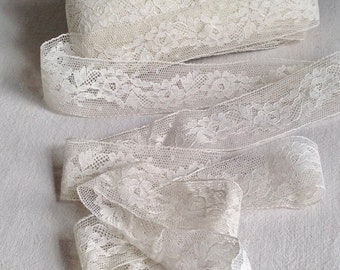 Antique Wedding Lace Vintage White Flowers Needlepoint Lace Trim 3m Vintage Wedding Dolls Bears, Period Costume & Home Decor