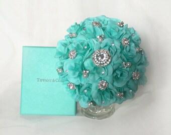 Brooch Bouquet, Aqua Bridesmaid Bouquet, Aqua Brooch Bouquet, Many Flower Colors Available