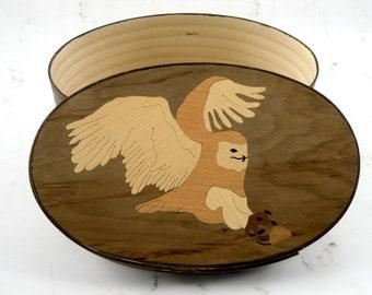 Shaker oval box with owl inlay snowy owl jewelry box marquetry veneer