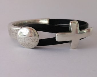 Silver Half Cuff Cross and Leather Bracelet