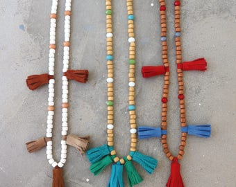 Long Sautoir Necklace with Tassel. Wood Beaded Necklace. Mala Hippie Necklace. Boho Gypsy Necklace. Women's Gift. Bohemian Jewelry