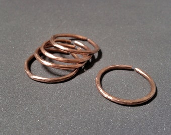 Hammered copper rings, set of 5 stackable rings, adjustable rings, phalanx rings, natural copper, boho jewelry, gift for her