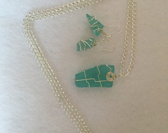 Turquoise, sea glass, silver, chair, necklace, earrings, stone, rock