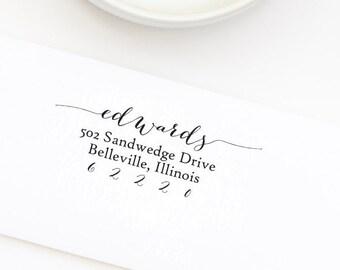 Return Address Stamp, Self-Inking Address Stamp, Calligraphy Address, Personalized Rubber Stamp, Wedding Stamp - Custom Address Stamp No. 43