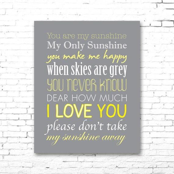 You are my sunshine printable lyrics artwork grey yellow stopboris Images