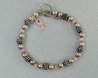 Vintage Sterling Pink Cat's Eye Bead Silver Ball Toggle Bracelet Signed STC Ribbon Awareness Charm