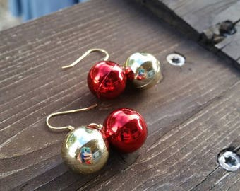 Red and Gold Christmas Ball Earrings - Holiday Jewelry Fashion Accessories