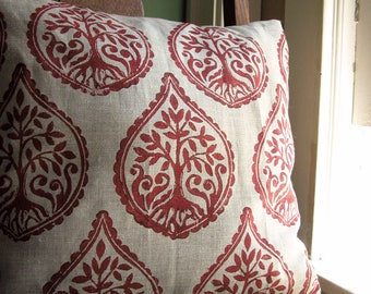 Russet Tree and Fern hand block printed on natural gray linen decorative home decor pillow cover