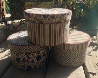 Set of 3 Vintage-Style Fabric-Covered Boxes