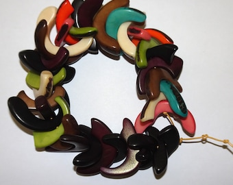 Crescent Shaped Beads 3, No Sharp Points, Center Drilled Tagua Beads, Organic, Eco Friendly, EcoBeads
