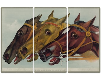 """Neck and Neck to the Wire, Jay Eye See, Currier & Ives 1884, Horse Races, Triptych Metal Sign, Americana, Wall Decor, Wall Art 54""""x36"""""""