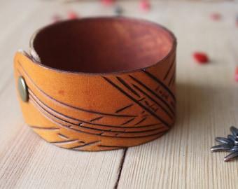 Orange leather bracelet,Embossed bracelet,Cuff,Pattern,Handmade,For men,Hand Painted