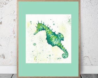 Seahorse Watercolor Painting Seahorse Art Seahorse Painting Seahorse Print Seahorse Wall Art Seahorse Wall Decor Seahorse Decor Ocean Sea
