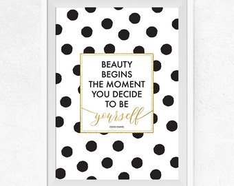 Beauty begins Printable,  Dots Printable Poster, Inspirational Quote, Coco Chanel Quote, Typography Poster, Home Decor, Wall Art - #0394