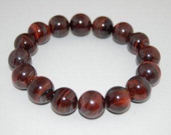 Red Tiger Eye Bracelet, Tiger Eye 10mm Beads,Elastic Fits,Man,Woman,Pray,Boho,Yoga,Spirituality,Protection,Meditation,Good Luck